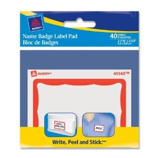 Avery Border Name Badge Label Pad, Red, 40 Labels (45143