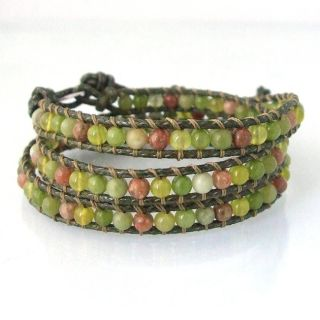 Green Aventurine Stone Wrap Leather Bracelet (Thailand)