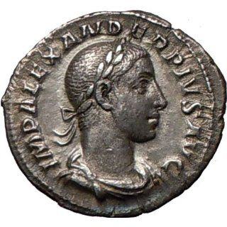 SEVERUS ALEXANDER 234AD Quality Ancient Silver Roman Coin Nude SOL Sun