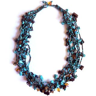 Luzy Turquoise and Mocha Bead Necklace (Guatemala)