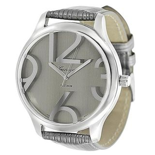 Geneva Platinum Womens Simulated Patent Leather Watch