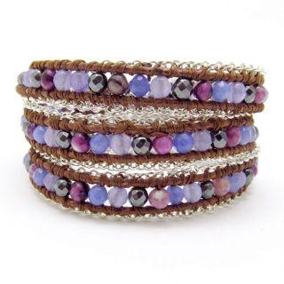 Purple Gemstones Chain Link Triple Wrap Bracelet (Thailand