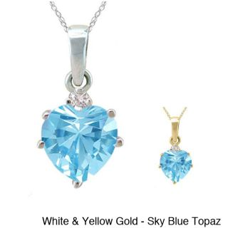 10k Gold Birthstone and 1/50ct TDW Diamond Heart Necklace (G H, SI1