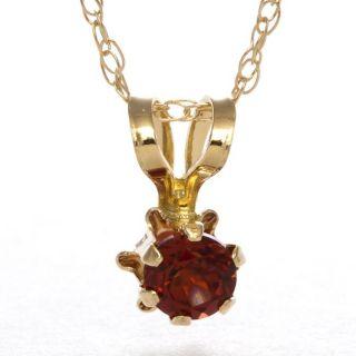 14k Yellow Gold Garnet Birthstone Pendant