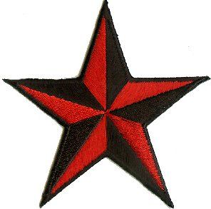 5 Red & Black 3D Nautical Star Patch Clothing