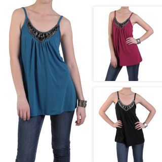 Journee Collection Womens Embellished Neck Flowing Tank