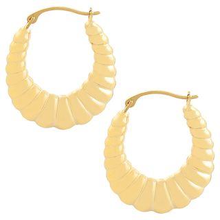 Fremada 14k Yellow Gold Polished Shrimp Hoop Earrings