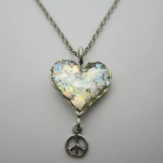 Ancient Roman Glass Heart Peace Sign Necklace (Israel)