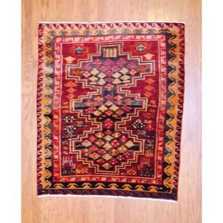 Persian Hand knotted 1960s Tribal Hamadan Red/ Ivory Wool Rug (49 x 5