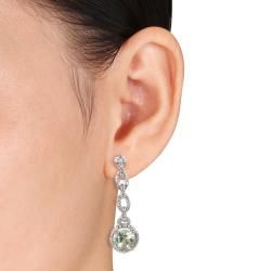 Miadora Sterling Silver Green Amethyst and Diamond Accent Earrings (H