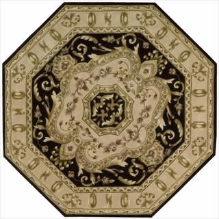 Hand knotted Versailles Palace Floral Black Octagon Rug (6 x 6
