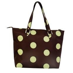 Jenni Chan Womens Green/Brown Dots Laptop Tote Bag
