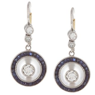 Platinum Sapphire and 3/5ct TDW Diamond Carved Earrings (H I, SI1 SI2