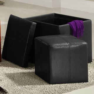 Swayne Black Storage Ottoman with Mini Foot Stool