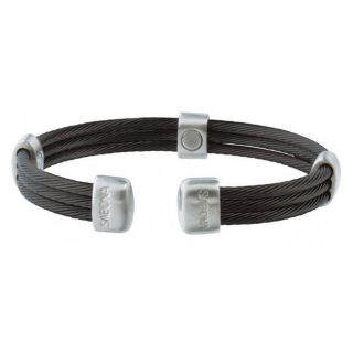 Sabona Trio Cable Black and Silvertone Satin Stainless Steel Magnetic