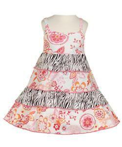 Mad Sky Boutique Girls Zebra Ruffle Dress