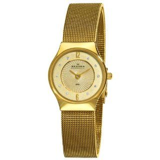 Skagen Womens 233XSGGG1 Steel Gold Swarovski Crystal Dial Watch