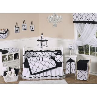 Sweet Jojo Designs Black and White Princess 9 piece Crib Bedding Set