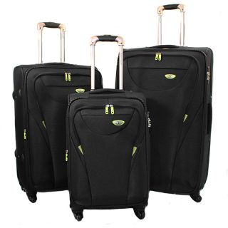 American Green Travel Black 3 piece Expandable Spinner Luggage Set