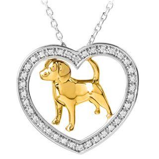 ASPCA ender Voices Silver 1/6c DW Diamond Dog Necklace (I J, I2 I3