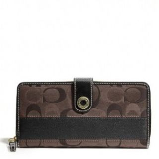Color DK BROWN Signature Accordion Zip Around Wallet$228.00 Clothing