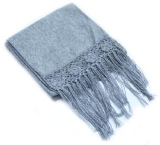 Alpaca Wool Fringed Scarf from Peru, Silver Gray Clothing
