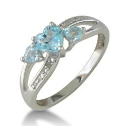 Sterling Silver Blue Topaz and Diamond Accent Heart Ring