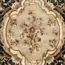 Handmade French Aubusson Black Premium Wool Rug (6 x 9)