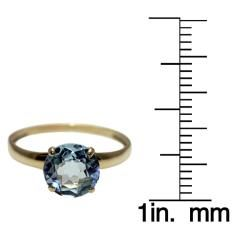 10k Yellow Gold Blue Topaz Solitaire Ring