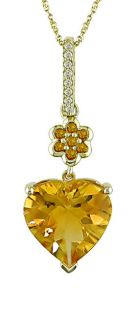 14k Yellow Gold Citrine Heart Necklace