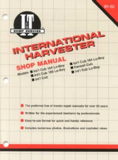 Inernaional Harveser Shop Manual Models Inl Cub 154 Lo Boy, Inl