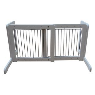 White Free standing 23.6 39.4 inch Pet Gate