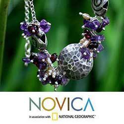 Silver Violet Fantasy Pearl Amethyst Necklace (3 mm) (Thailand