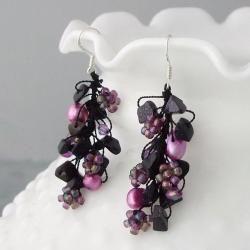Sterling Silver Sandstone and Pearl Seed Bead Earrings (5 6 mm