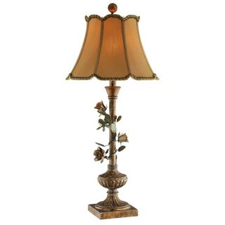 Rose Vine Lamp with Gold Scallop Trimmed Shade