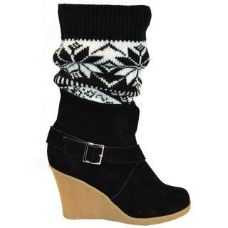 Muk Luks Womens Buckled Wedge Sock Boots