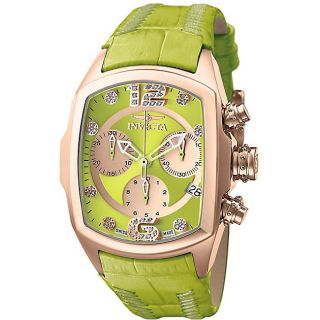 Invicta Womens Lupah Revolution Green Leather Strap Watch