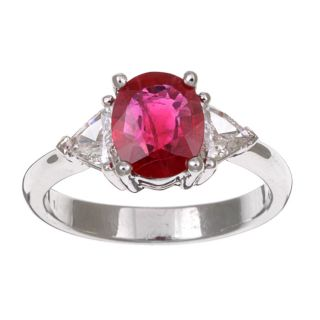 18k White Gold Oval Ruby and 3/8ct TDW Diamond Ring (G H, SI