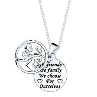 Sterling Silver Girlfriends are family we choose for ourselves Round