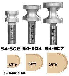 Infinity Tools 00 545, 3 Piece Bullnose Router Bit Set