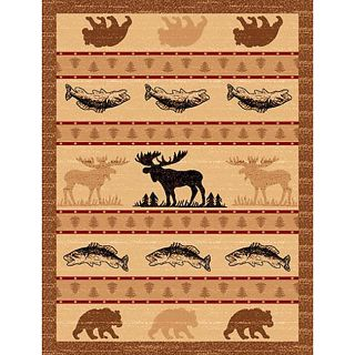 Lodge Design 361 Moose Fish Bear Area Rug (5 x 7)