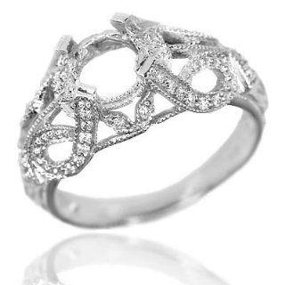 Vintage Setting Diamond White Gold Semi Mount Deco Ring