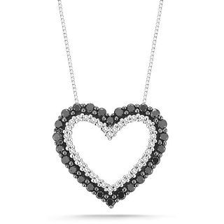 10k White Gold Black and White Diamond Heart Pendant