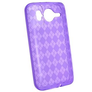Clear Purple Argyle TPU Rubber Case for HTC Inspire 4G