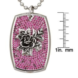 Ed Hardy Red Cubic Zirconia Rose Dog Tag Necklace