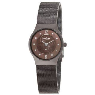 Skagen Womens 233XSDD1 Steel Brown Swarovski Crystal Dial Watch