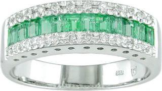 14k White Gold 1/8ctw Diamond Emerald Ring