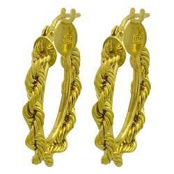 10k Yellow Gold Oval Rope Hoop Earrings