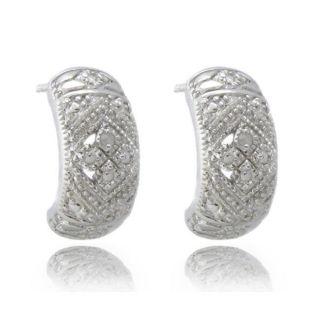 Sterling Silver Diamond Accent Half Hoop Earrings