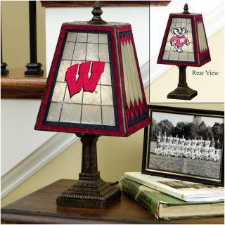 Wisconsin Badgers 14 inch Art Glass Lamp